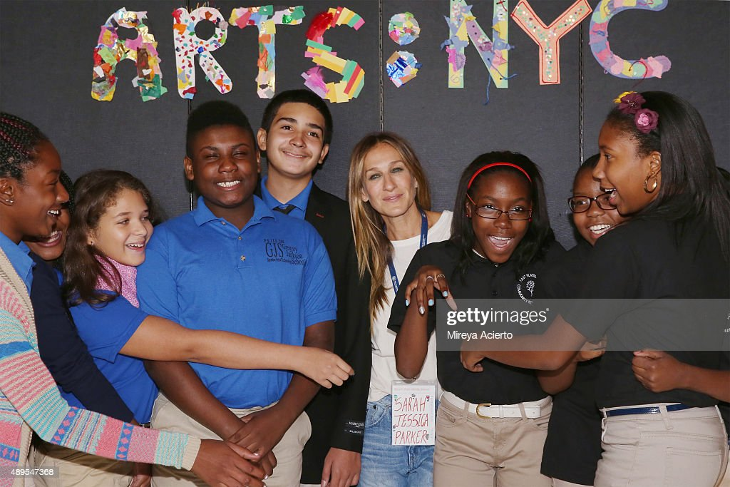 Actress Sarah Jessica Parker attends a press conference launching Turnarond Arts in NYC Schools at the Brooklyn Museum on September 22 2015 in the...