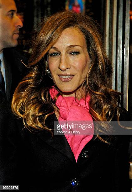 Actress Sarah Jessica Parker attends the opening night of 'Present Laughter' on Broadway at the American Airlines Theatre on January 21 2010 in New...