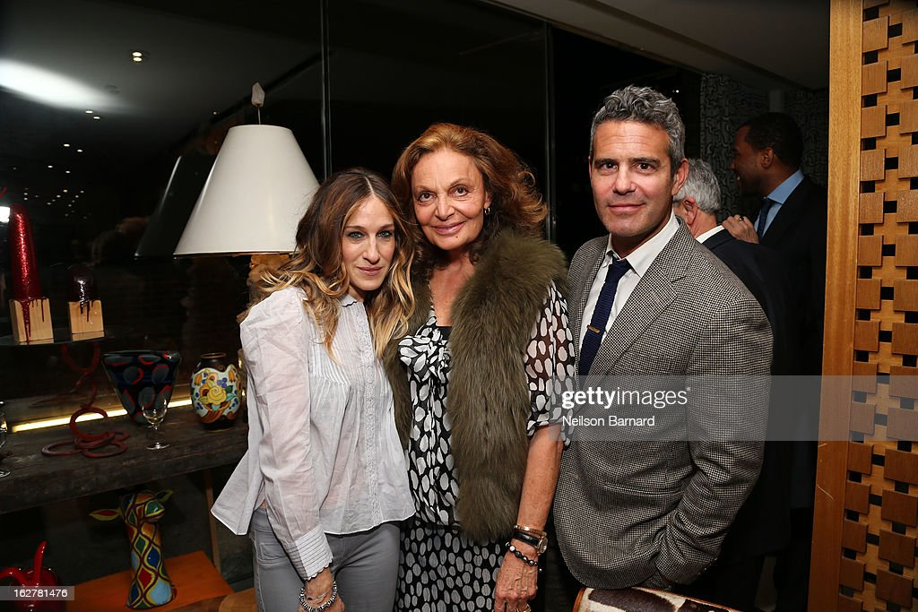 Actress <a gi-track='captionPersonalityLinkClicked' href=/galleries/search?phrase=Sarah+Jessica+Parker&family=editorial&specificpeople=201693 ng-click='$event.stopPropagation()'>Sarah Jessica Parker</a>, fashion designer Diane Von Furstenberg and television personality Andy Cohen attend Diane Von Furstenberg and the United States Holocaust Memorial Museum Director Sara Bloomfield host the Museum's 20th Anniversary reception on February 26, 2013 in New York City.