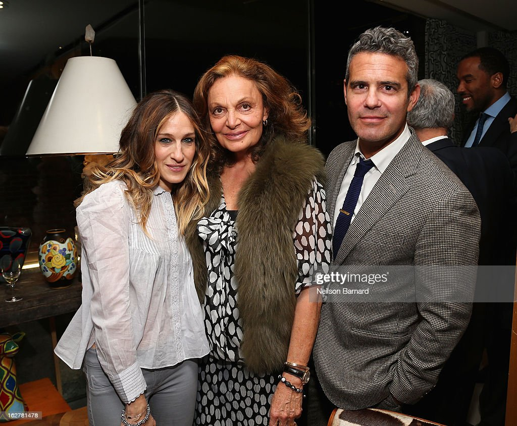 Actress Sarah Jessica Parker, fashion designer Diane Von Furstenberg and television personality Andy Cohen attend Diane Von Furstenberg and the United States Holocaust Memorial Museum Director Sara Bloomfield host the Museum's 20th Anniversary reception on February 26, 2013 in New York City.