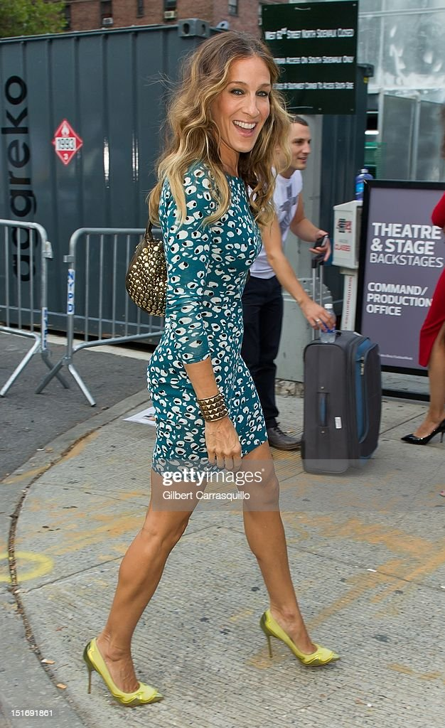 Actress <a gi-track='captionPersonalityLinkClicked' href=/galleries/search?phrase=Sarah+Jessica+Parker&family=editorial&specificpeople=201693 ng-click='$event.stopPropagation()'>Sarah Jessica Parker</a> is seen around Lincoln Center during Spring 2013 Mercedes-Benz Fashion Week on September 9, 2012 in New York City.