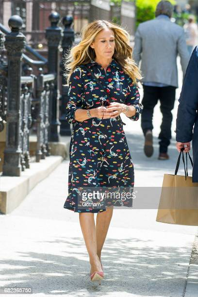 Actress Sarah Jessica Parker is seen filming 'Divorce' on the Upper West Side on May 12 2017 in New York City