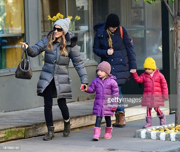 Actress Sarah Jessica Parker Marion Loretta Elwell Broderick and Tabitha Hodge Broderick are seen in the West Village on November 13 2013 in New York...