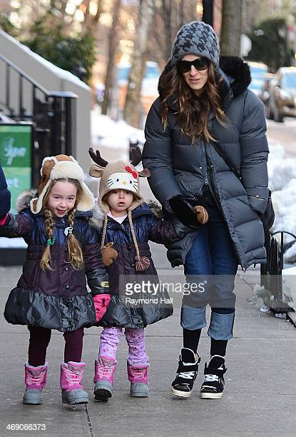 Actress Sarah Jessica Parker Marion Loretta Elwell Broderick and Tabitha Hodge Broderick are seen in the West Village on February 12 2014 in New York...