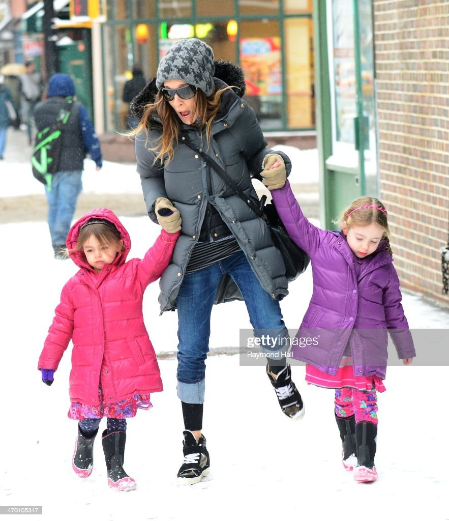 Actress Sarah Jessica Parker Marion Loretta Elwell Broderick and Tabitha Hodge Broderick are seen in the West Village on February 18 2014 in New York...