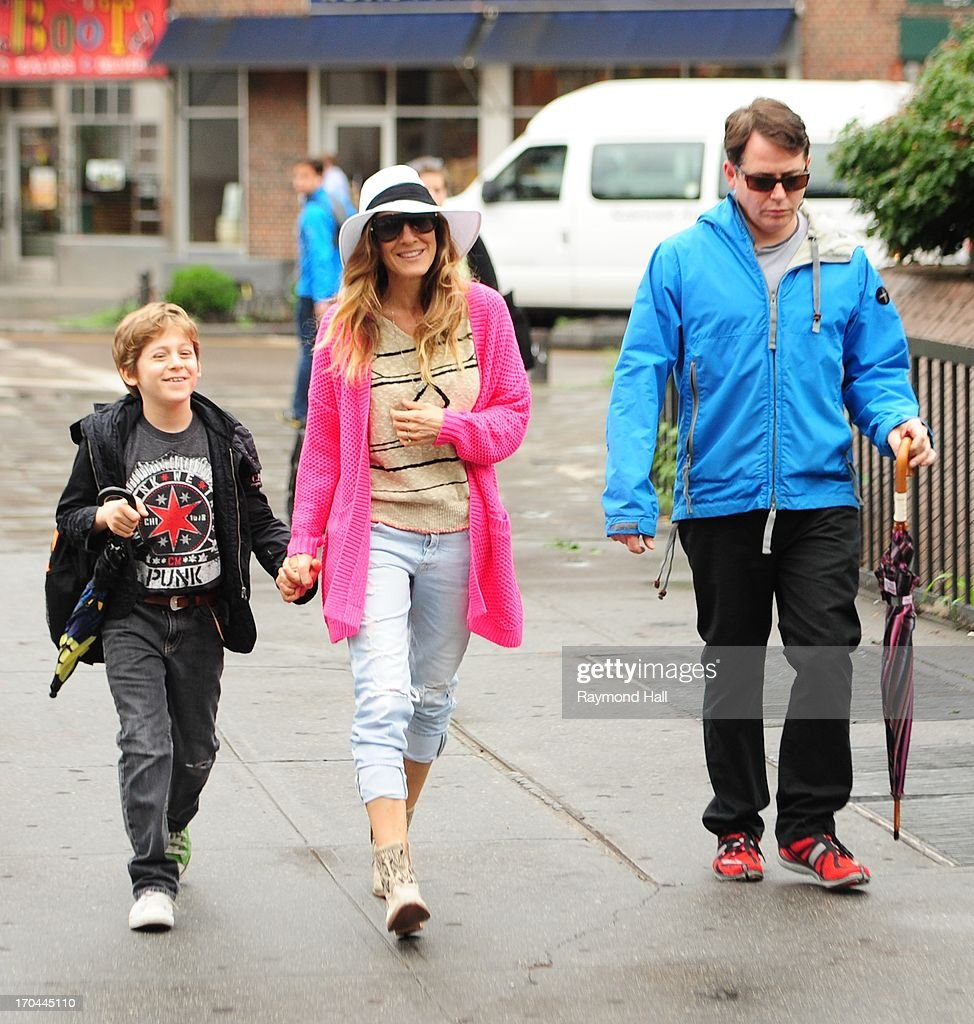 9(L-R) Actress Sarah Jessica Parker, Matthew Broderick and James Wilke Broderick are seen in West Village on June 13, 2013 in New York City.