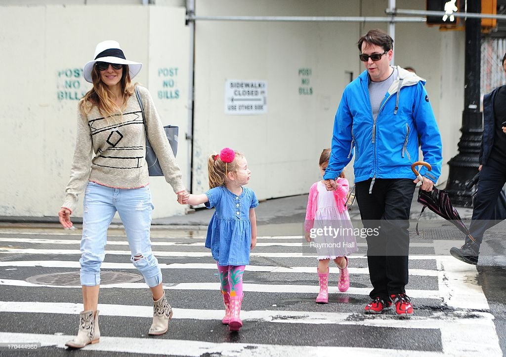 Actress Sarah Jessica Parker, Matthew Broderick,Tabitha Broderick and Marion Broderick are seen in West Village on June 13, 2013 in New York City.
