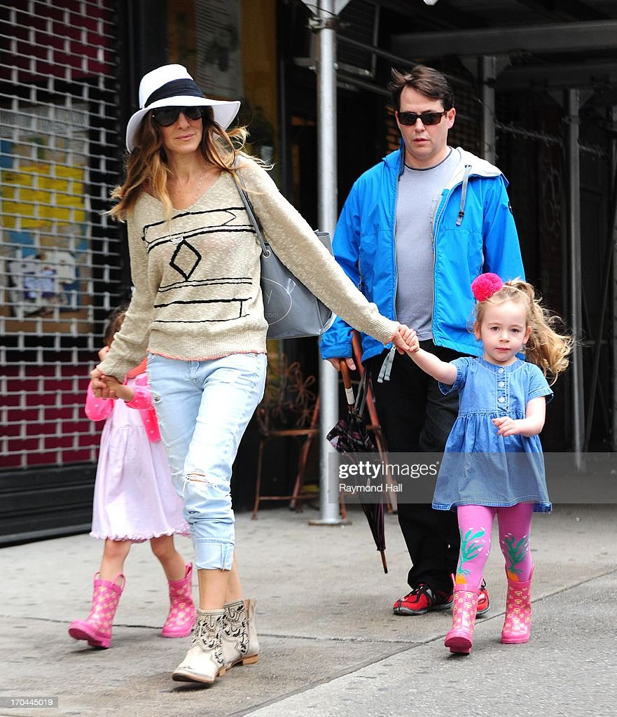 Actress <a gi-track='captionPersonalityLinkClicked' href=/galleries/search?phrase=Sarah+Jessica+Parker&family=editorial&specificpeople=201693 ng-click='$event.stopPropagation()'>Sarah Jessica Parker</a>, <a gi-track='captionPersonalityLinkClicked' href=/galleries/search?phrase=Matthew+Broderick&family=editorial&specificpeople=201912 ng-click='$event.stopPropagation()'>Matthew Broderick</a>,Tabitha Broderick and Marion Broderick are seen in West Village on June 13, 2013 in New York City.