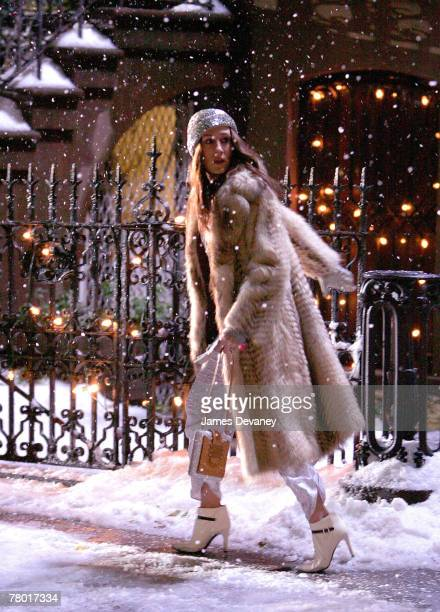 Actress Sarah Jessica Parker on location for 'Sex and the City The Movie' on November 17 2007 in New York City