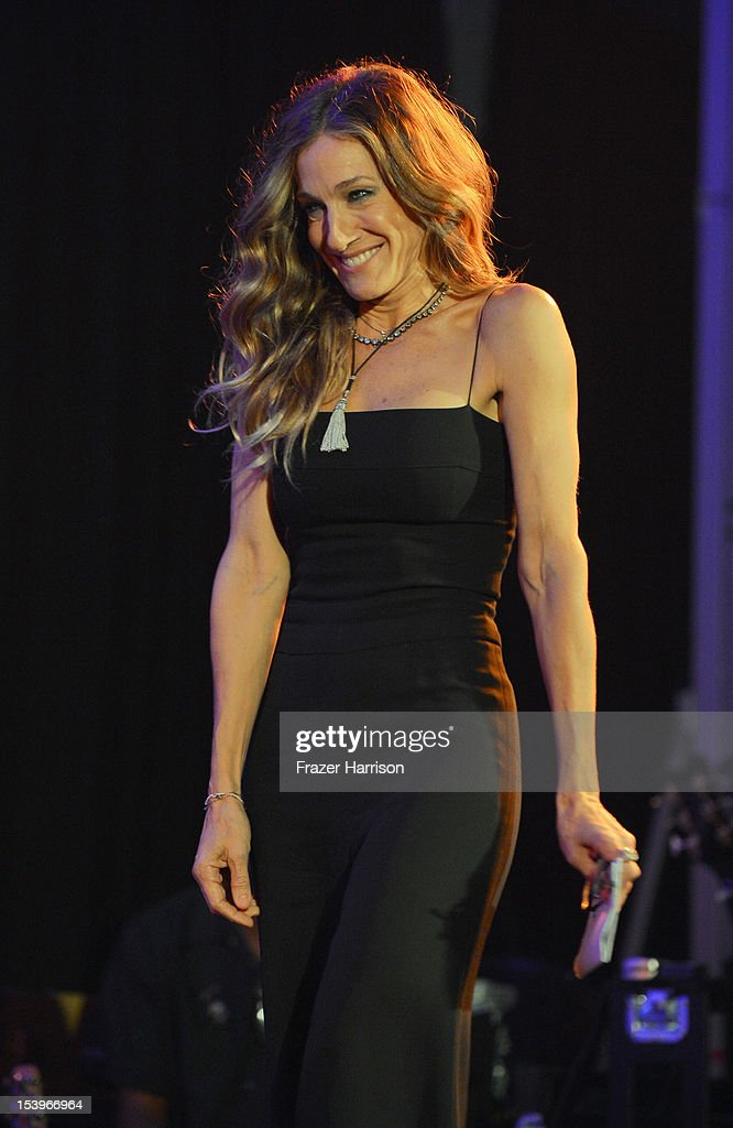 Actress Sarah Jessica Parker onstage at amfAR's Inspiration Gala at Milk Studios on October 11, 2012 in Los Angeles, California.