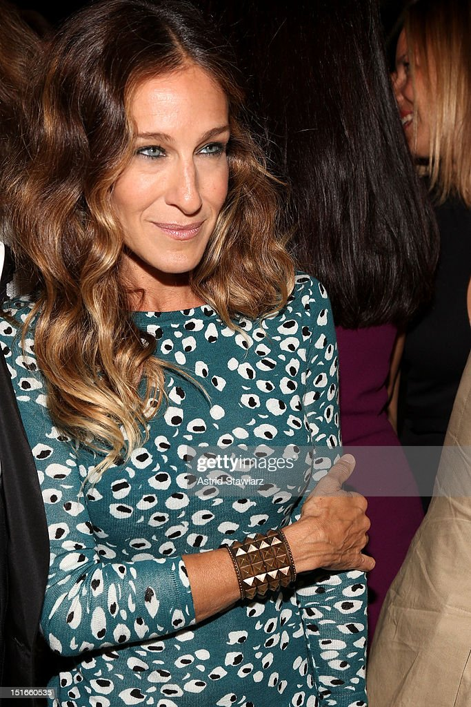 Actress <a gi-track='captionPersonalityLinkClicked' href=/galleries/search?phrase=Sarah+Jessica+Parker&family=editorial&specificpeople=201693 ng-click='$event.stopPropagation()'>Sarah Jessica Parker</a> poses backstage at the Diane Von Furstenberg Spring 2013 fashion show during Mercedes-Benz Fashion Week at The Theatre at Lincoln Center on September 9, 2012 in New York City.