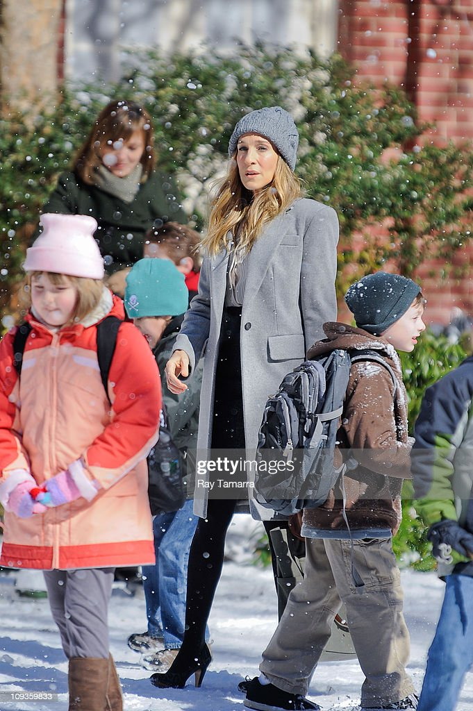 Actress Sarah Jessica Parker rehearses a scene at the 'I Don't Know How She Does It' movie set at Plymouth Church School on February 22 2011 in New...