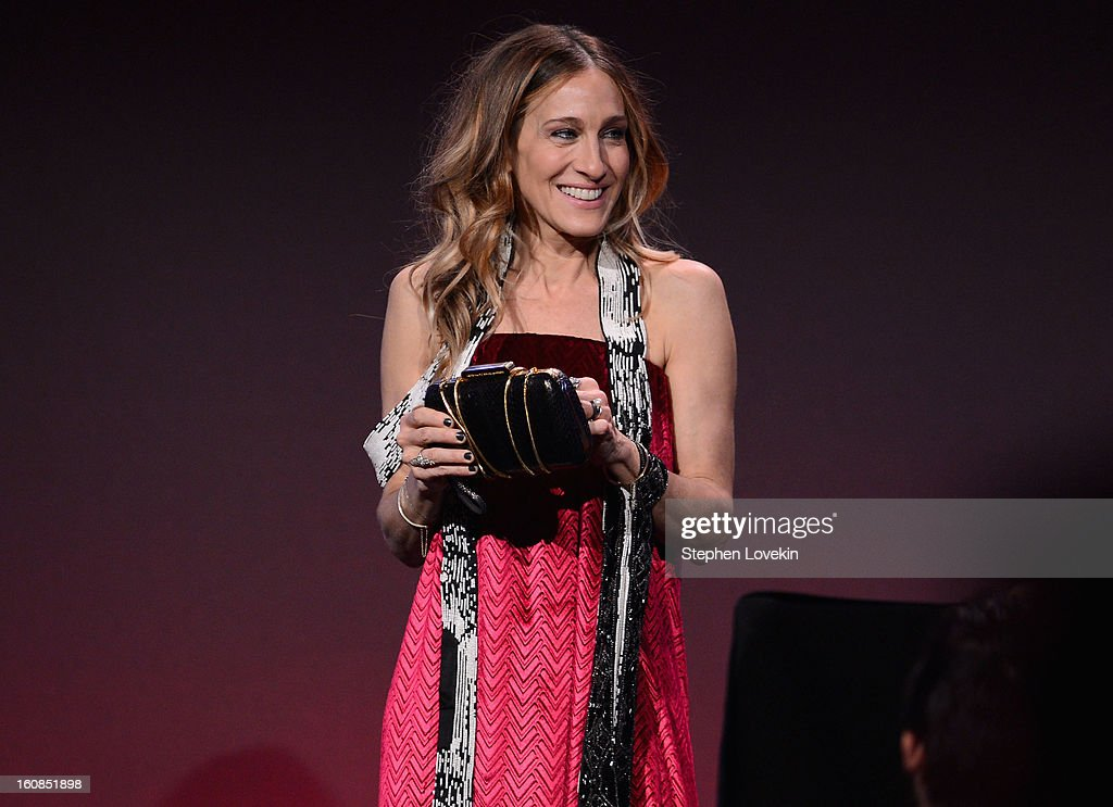 Actress <a gi-track='captionPersonalityLinkClicked' href=/galleries/search?phrase=Sarah+Jessica+Parker&family=editorial&specificpeople=201693 ng-click='$event.stopPropagation()'>Sarah Jessica Parker</a> speaks onstage at the amfAR New York Gala to kick off Fall 2013 Fashion Week at Cipriani Wall Street on February 6, 2013 in New York City.