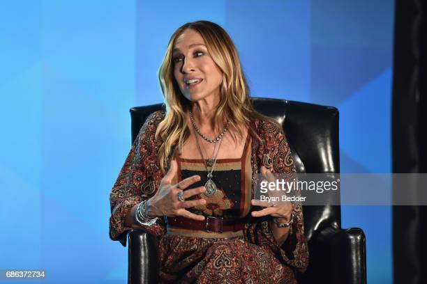 Actress Sarah Jessica Parker speaks onstage during Sarah Jessica Parker and Adam Moss In Conversation during the 2017 Vulture Festival at Milk...