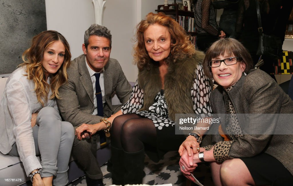 Actress Sarah Jessica Parker, television personality Andy Cohen, fashion designer Diane Von Furstenberg and the United States Holocaust Memorial Museum Director Sara Bloomfield attend Diane Von Furstenberg and the United States Holocaust Memorial Museum Director Sara Bloomfield host the Museum's 20th Anniversary reception on February 26, 2013 in New York City.