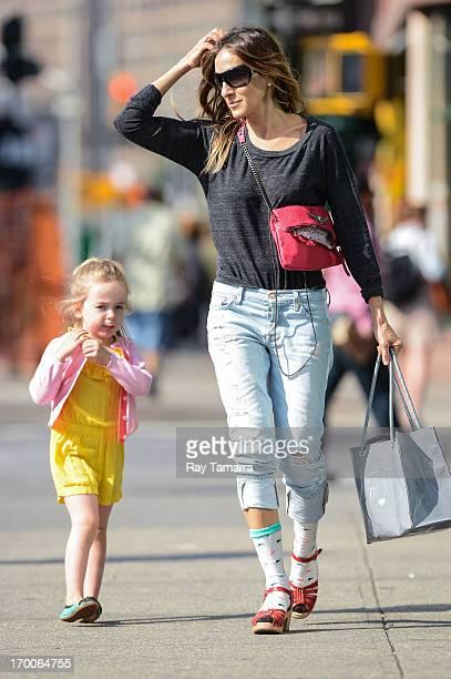 Actress Sarah Jessica Parker walks Marion Broderick to her West Village school on June 6 2013 in New York City
