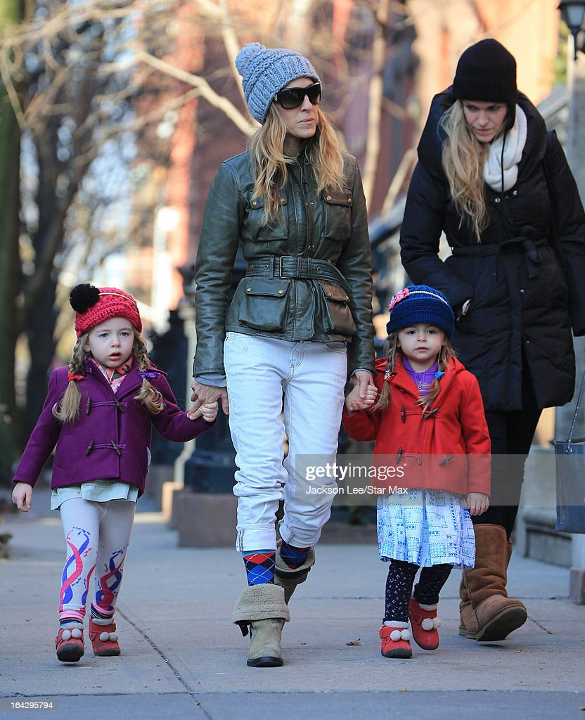Actress Sarah Jessica Parker with her daughters Marion Loretta Elwell Broderick and Tabitha Hodge Broderick as seen on March 13, 2013 in New York City.