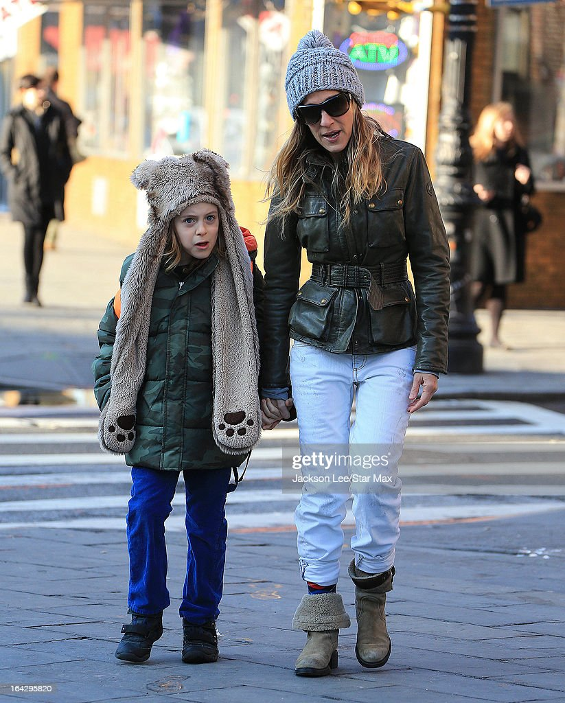 Actress Sarah Jessica Parker with her son James Wilkie Broderick as seen on March 13, 2013 in New York City.