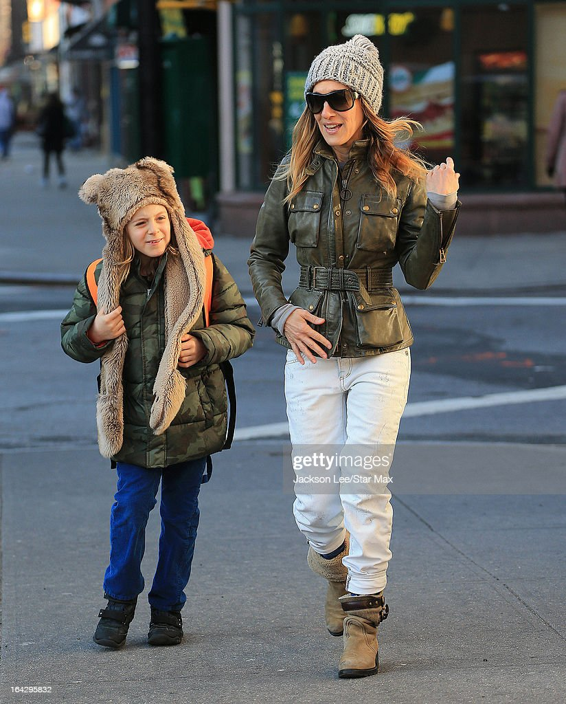 Actress <a gi-track='captionPersonalityLinkClicked' href=/galleries/search?phrase=Sarah+Jessica+Parker&family=editorial&specificpeople=201693 ng-click='$event.stopPropagation()'>Sarah Jessica Parker</a> with her son <a gi-track='captionPersonalityLinkClicked' href=/galleries/search?phrase=James+Wilkie+Broderick&family=editorial&specificpeople=5579643 ng-click='$event.stopPropagation()'>James Wilkie Broderick</a> as seen on March 13, 2013 in New York City.