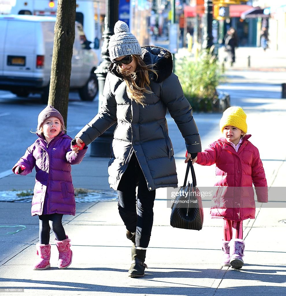 Actress Sarah Jessica Parker,Marion Loretta Elwell Broderick and Tabitha Hodge Broderick are seen in the West Village on November 13, 2013 in New York City.