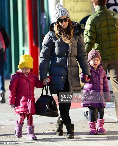 Actress Sarah Jessica ParkerMarion Loretta Elwell Broderick and Tabitha Hodge Broderick are seen in the West Village on November 13 2013 in New York...