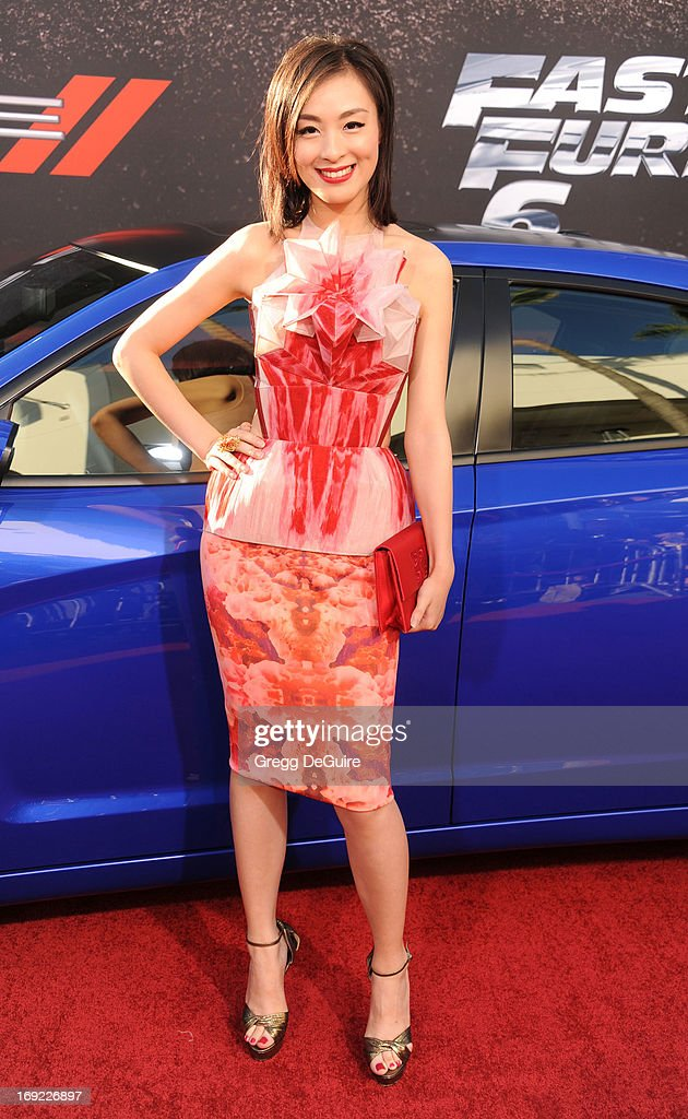 Actress Sarah Li arrives at the Los Angeles premiere of 'Fast & The Furious 6' at Gibson Amphitheatre on May 21, 2013 in Universal City, California.
