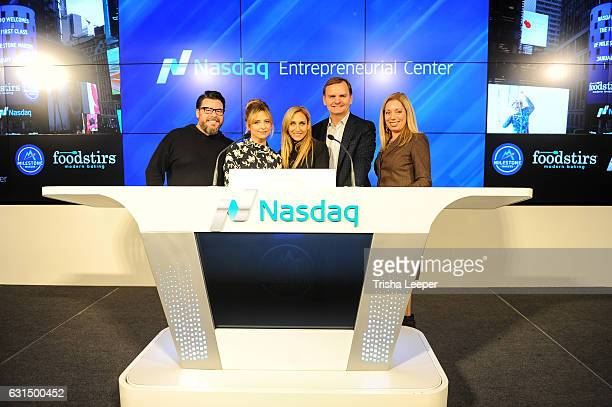Actress Sarah Michelle Gellar and her Foodstirs cofounders Galit Laibow and Greg Fleishman Nasdaq Vice Chairman and President of the Nasdaq...