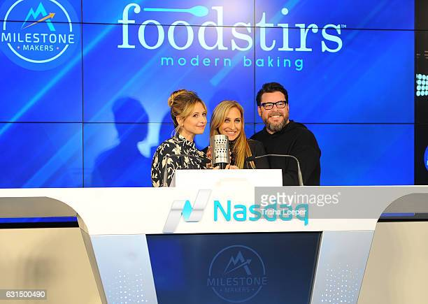Actress Sarah Michelle Gellar and her Foodstirs cofounders Galit Laibow and Greg Fleishman Rings Nasdaq Closing Bell From The Nasdaq Entrepreneurial...
