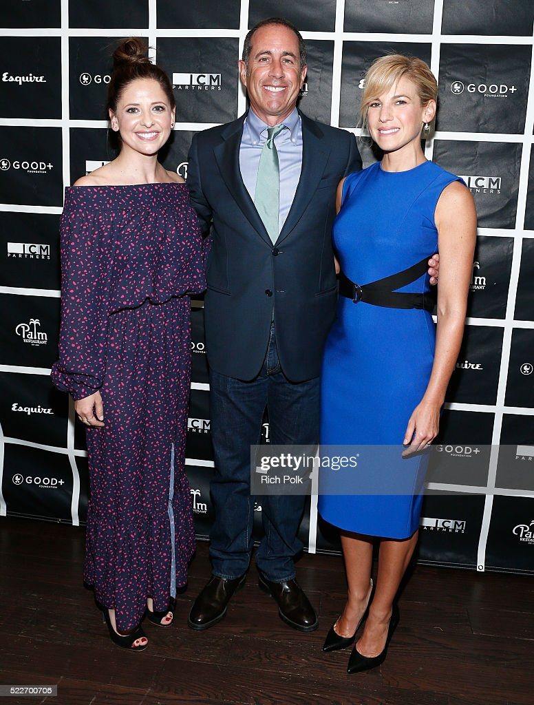Actress Sarah Michelle Gellar, host Jerry Seinfeld and GOOD+ Foundation founder Jessica Seinfeld attend the 2nd annual Los Angeles Fatherhood Lunch to benefit GOOD+FOUNDATION at The Palm Restaurant on April 20, 2016 in Beverly Hills, California.