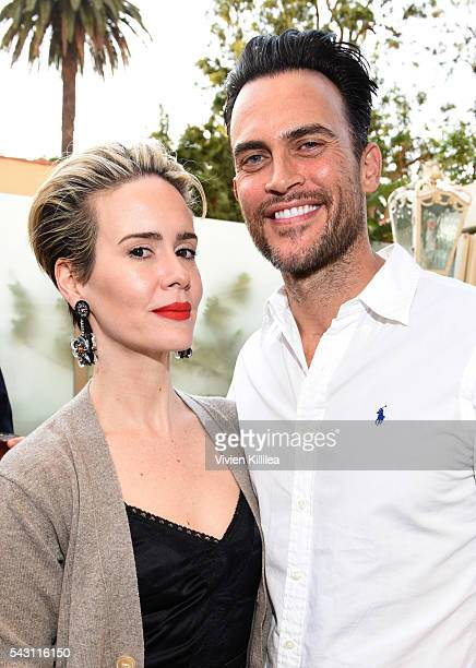 Actress Sarah Paulson and actor Cheyenne Jackson attend Academy AwardWinner Kathy Bates Hosts Reception On Eve Of California Walk To Fight Lymphedema...
