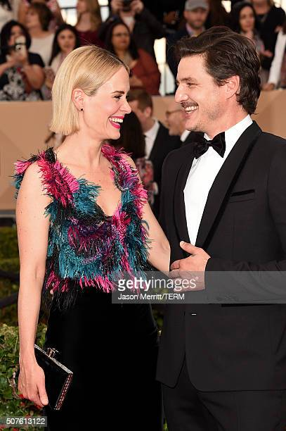 Actress Sarah Paulson and actor Pedro Pascal attend The 22nd Annual Screen Actors Guild Awards at The Shrine Auditorium on January 30 2016 in Los...