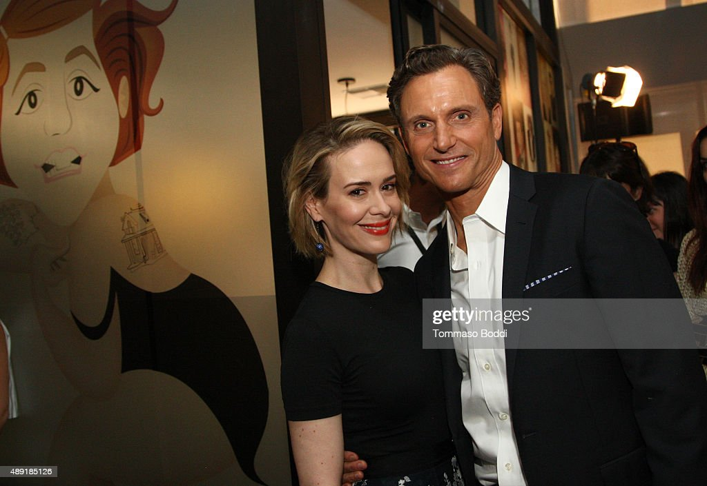 Actress Sarah Paulson and Actor/Director/Producer Tony Goldwyn pose during Vanity Fair Social Club's 'In Conversation with' panel series at WeWork on...