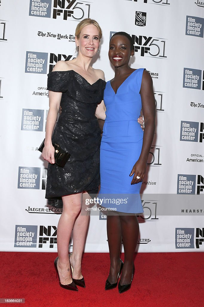 Actress <a gi-track='captionPersonalityLinkClicked' href=/galleries/search?phrase=Sarah+Paulson&family=editorial&specificpeople=220657 ng-click='$event.stopPropagation()'>Sarah Paulson</a> (L) and Actress <a gi-track='captionPersonalityLinkClicked' href=/galleries/search?phrase=Lupita+Nyong%27o&family=editorial&specificpeople=10961876 ng-click='$event.stopPropagation()'>Lupita Nyong'o</a> attend the '12 Years A Slave' premiere during the 51st New York Film Festival at Alice Tully Hall at Lincoln Center on October 8, 2013 in New York City.
