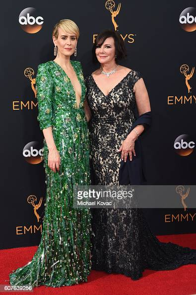 Actress Sarah Paulson and Prosecutor Marcia Clark attend the 68th Annual Primetime Emmy Awards at Microsoft Theater on September 18 2016 in Los...