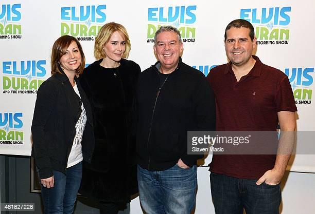 Actress Sarah Paulson and 'The Elvis Duran Z100 Morning Show' crew Danielle Morano Elvis Duran and Skeery Jones pose for photo at 'The Elvis Duran...