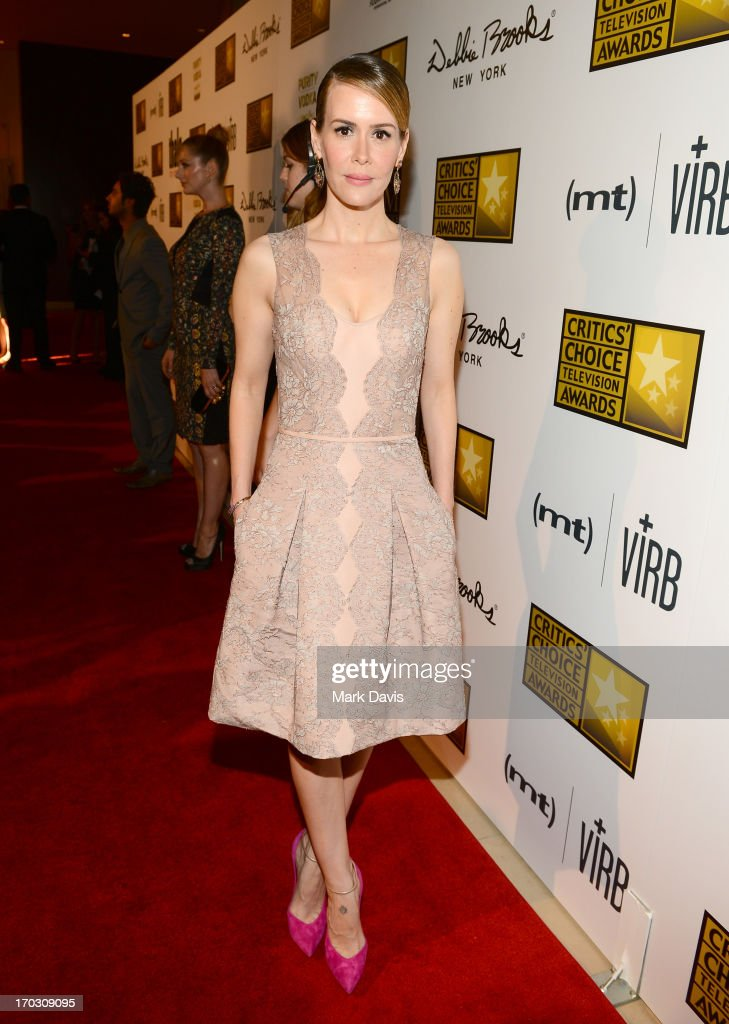 Actress <a gi-track='captionPersonalityLinkClicked' href=/galleries/search?phrase=Sarah+Paulson&family=editorial&specificpeople=220657 ng-click='$event.stopPropagation()'>Sarah Paulson</a> arrives at Broadcast Television Journalists Association's third annual Critics' Choice Television Awards at The Beverly Hilton Hotel on June 10, 2013 in Los Angeles, California.
