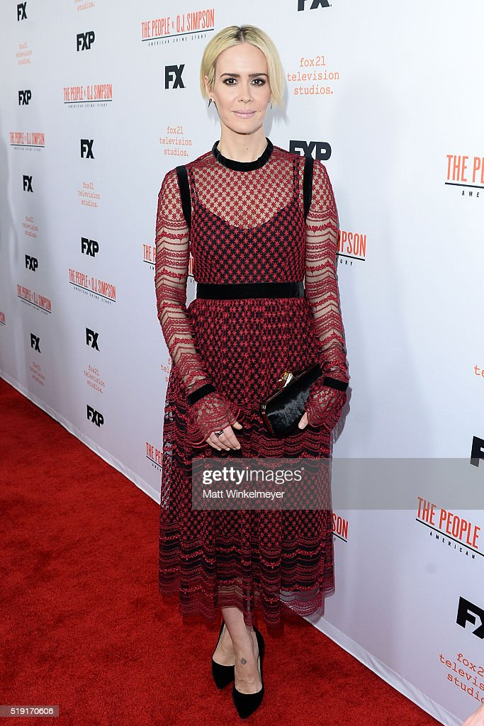 Actress Sarah Paulson arrives at FX's For Your Consideration Event for 'The People v OJ Simpson American Crime Story' at The Theatre at Ace Hotel on...