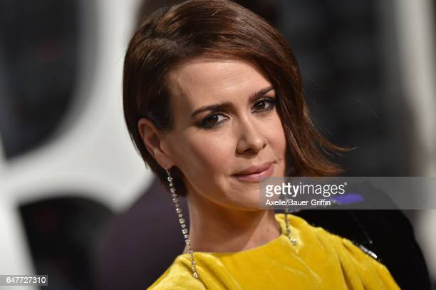 Actress Sarah Paulson arrives at the 2017 Vanity Fair Oscar Party Hosted By Graydon Carter at Wallis Annenberg Center for the Performing Arts on...