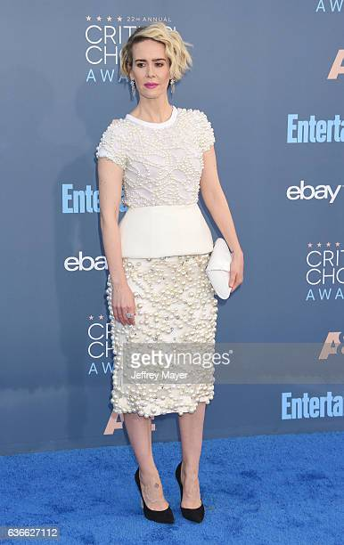Actress Sarah Paulson arrives at The 22nd Annual Critics' Choice Awards at Barker Hangar on December 11 2016 in Santa Monica California