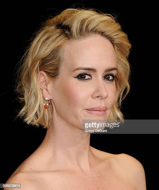 Actress Sarah Paulson arrives at the 27th Annual Producers Guild Awards at the Hyatt Regency Century Plaza on January 23 2016 in Century City...