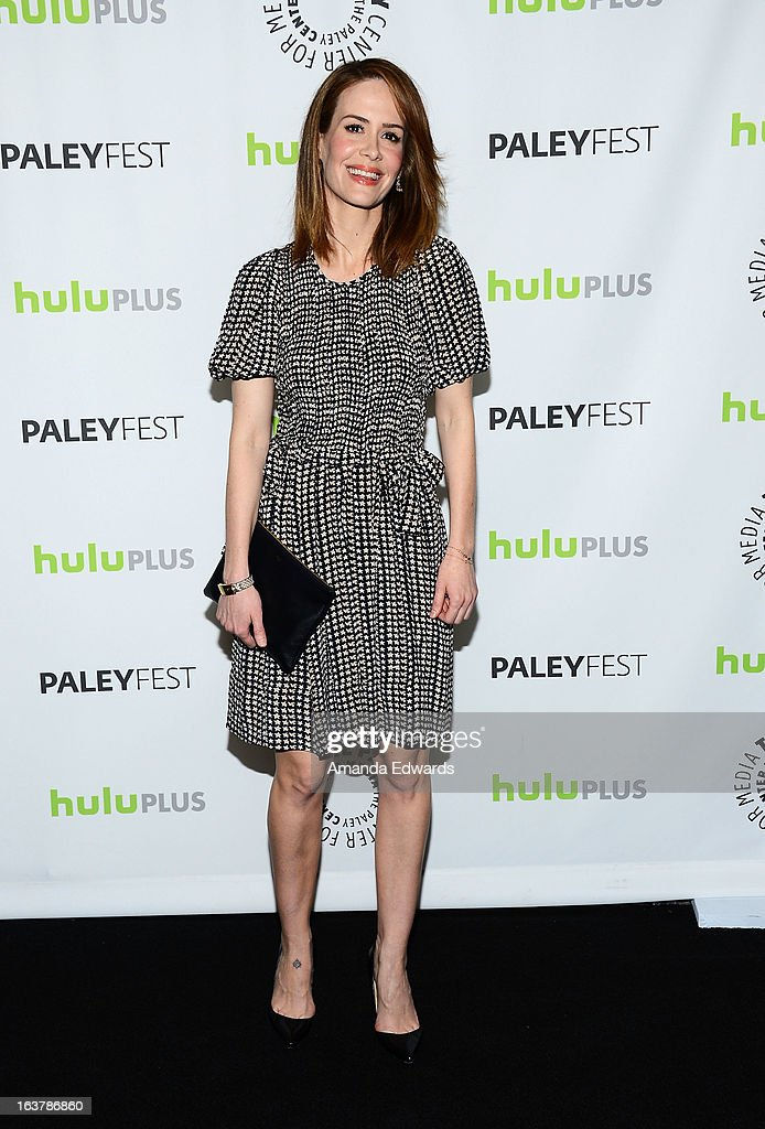 Actress <a gi-track='captionPersonalityLinkClicked' href=/galleries/search?phrase=Sarah+Paulson&family=editorial&specificpeople=220657 ng-click='$event.stopPropagation()'>Sarah Paulson</a> arrives at the 30th Annual PaleyFest: The William S. Paley Television Festival - Closing Night Presentation honoring 'American Horror Story' at the Saban Theatre on March 15, 2013 in Beverly Hills, California.