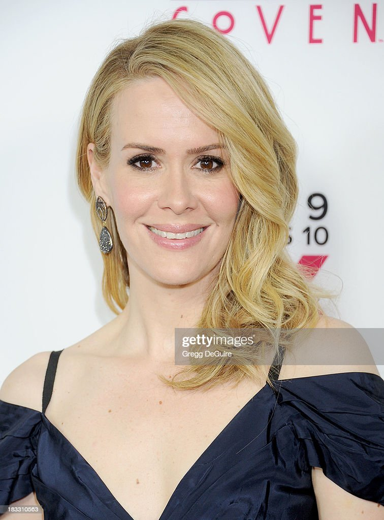 Actress <a gi-track='captionPersonalityLinkClicked' href=/galleries/search?phrase=Sarah+Paulson&family=editorial&specificpeople=220657 ng-click='$event.stopPropagation()'>Sarah Paulson</a> arrives at the Los Angeles premiere of FX's 'American Horror Story: Coven' at Pacific Design Center on October 5, 2013 in West Hollywood, California.