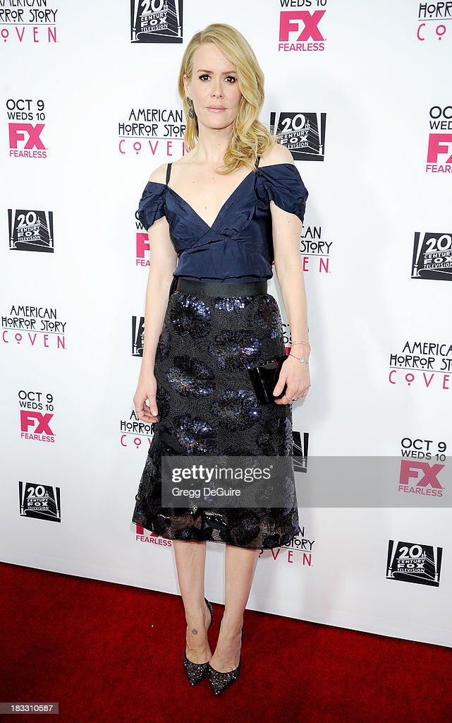 Actress Sarah Paulson arrives at the Los Angeles premiere of FX's 'American Horror Story: Coven' at Pacific Design Center on October 5, 2013 in West Hollywood, California.