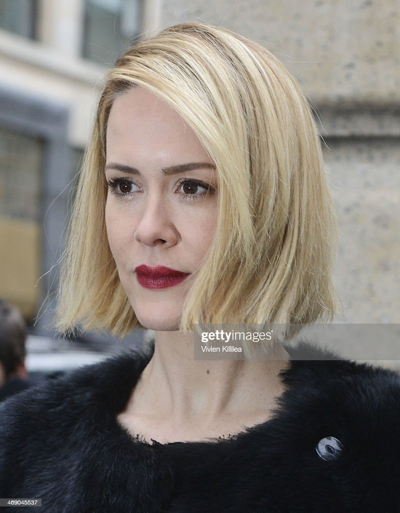 Actress Sarah Paulson arrives at the Marchesa show during MercedesBenz Fashion Week Fall 2014 at New York Public Library on February 12 2014 in New...