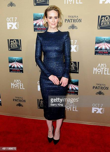 Actress Sarah Paulson arrives at the premiere screening Of FX's 'American Horror Story Hotel' at Regal Cinemas LA Live on October 3 2015 in Los...