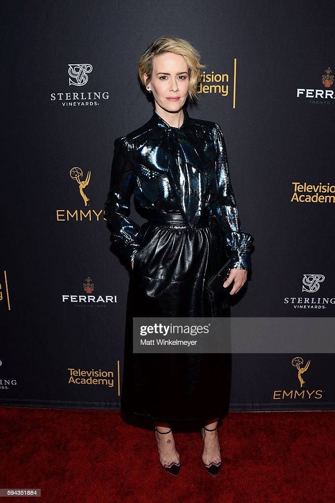 Actress Sarah Paulson arrives at the Television Academy's Performers Peer Group Celebration at Montage Beverly Hills on August 22 2016 in Beverly...