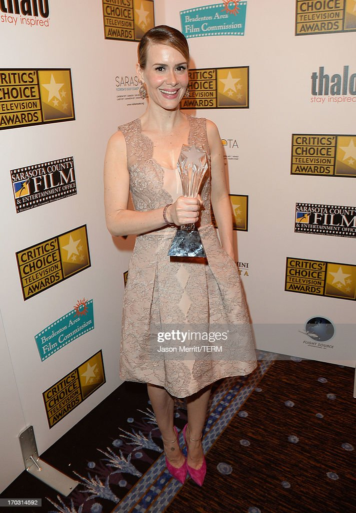 Actress <a gi-track='captionPersonalityLinkClicked' href=/galleries/search?phrase=Sarah+Paulson&family=editorial&specificpeople=220657 ng-click='$event.stopPropagation()'>Sarah Paulson</a> attends Broadcast Television Journalists Association's third annual Critics' Choice Television Awards at The Beverly Hilton Hotel on June 10, 2013 in Los Angeles, California.