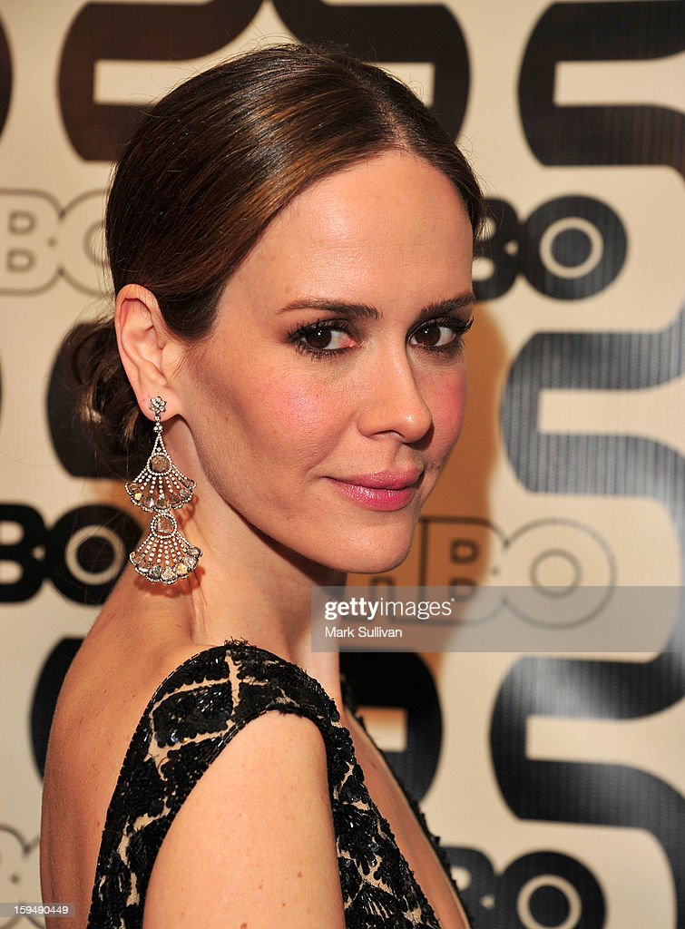 Actress <a gi-track='captionPersonalityLinkClicked' href=/galleries/search?phrase=Sarah+Paulson&family=editorial&specificpeople=220657 ng-click='$event.stopPropagation()'>Sarah Paulson</a> attends HBO's 70th Annual Golden Globes after party at Circa 55 Restaurant on January 13, 2013 in Los Angeles, California.