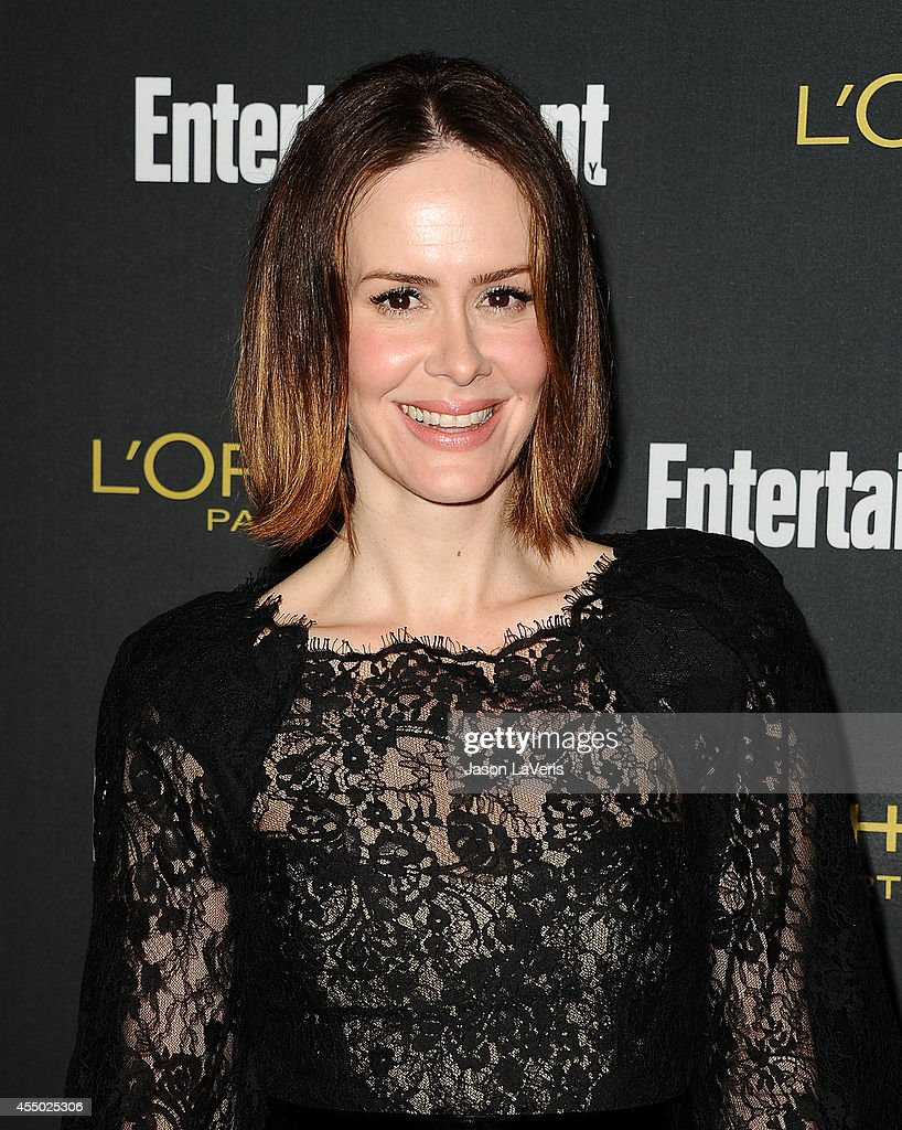 Actress <a gi-track='captionPersonalityLinkClicked' href=/galleries/search?phrase=Sarah+Paulson&family=editorial&specificpeople=220657 ng-click='$event.stopPropagation()'>Sarah Paulson</a> attends the 2014 Entertainment Weekly pre-Emmy party at Fig & Olive Melrose Place on August 23, 2014 in West Hollywood, California.