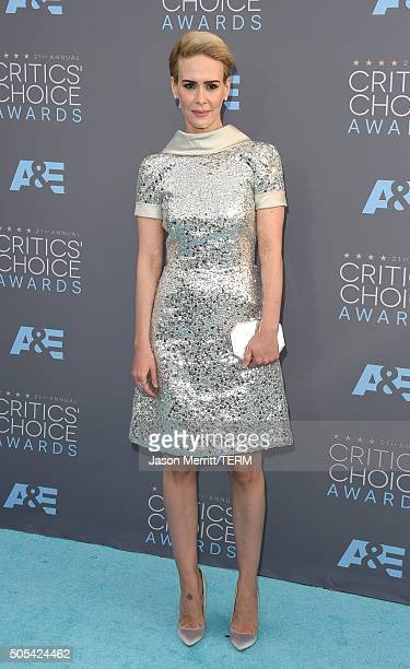 Actress Sarah Paulson attends the 21st Annual Critics' Choice Awards at Barker Hangar on January 17 2016 in Santa Monica California